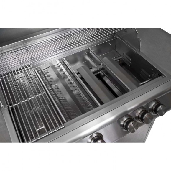 Blaze-Gas-Grill-Cooking-Grid-Flame-Tamer-and-Cast-Stainless-Burner-4-Burner-Blaze-Grill-shown-image-1