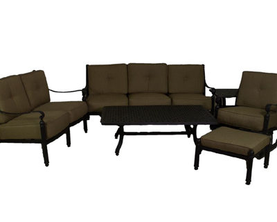 Basso Collection Deep Seating Sofa, Loveseat, Swivel Club Chair, & Table Set