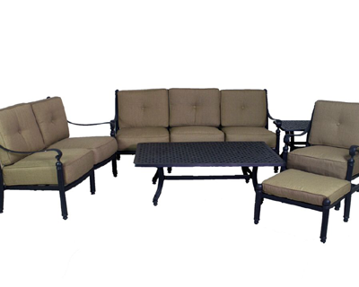 Basso Collection Deep Seating Sofa, Loveseat, Spring Club Chair & Table Set