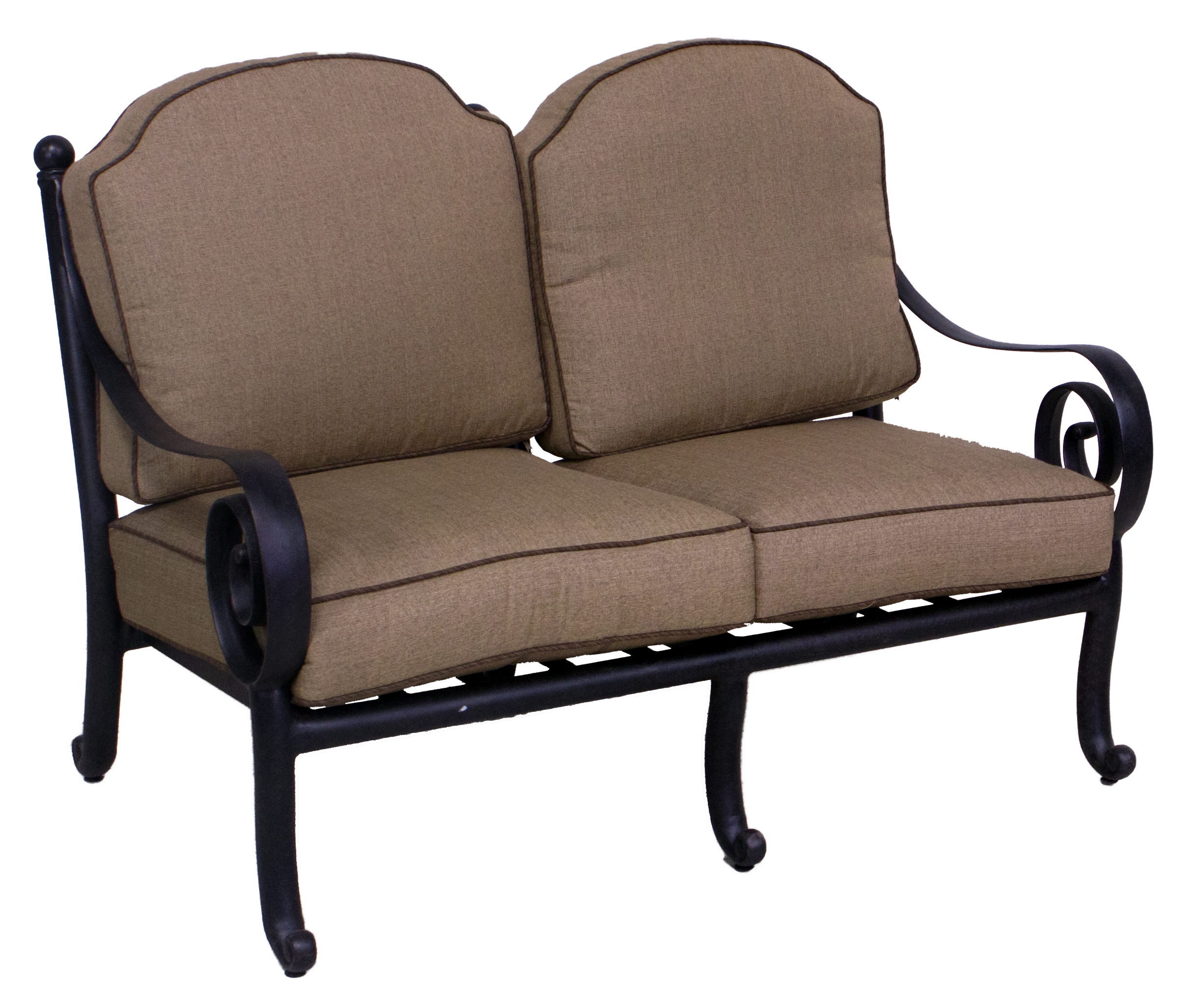 Best of backyard wynn collection loveseat sofa club for Sofa coffee table