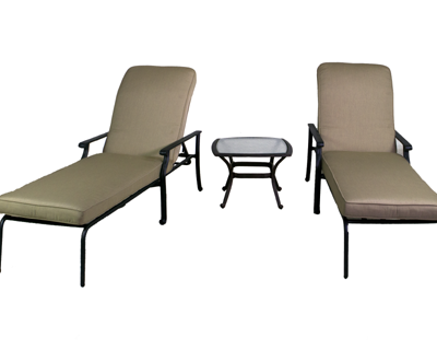 Rosemead Collection Chaise Lounge Set & Glass Top End Table