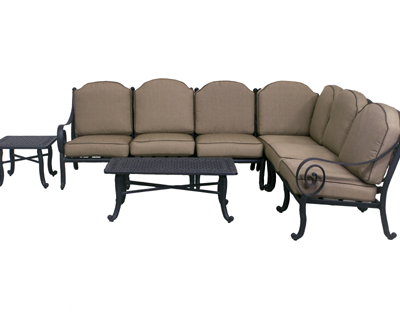 Wynn Collection 4 Piece Loveseat Sectional Set w/ End Table & Coffee Table
