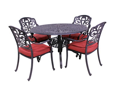Carrera Collection 4 Dining Chairs and Catalina 48″ Round Table