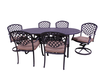 Kingston Collection 4 Dining Chairs, 2 Swivel Rockers, and Le Terrace 42 x 72 Oval Table