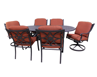Harmony Collection 4 Dining Chairs, 2 Swivel Rockers and Le Terrace 42 x 72 Oval Table