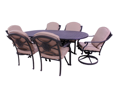 Rosemead Collection 4 Dining Chairs, 2 Swivel Rockers and Le Terrace 42 x 72 Oval Table