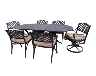 Le Terrace Collection 4 Dining Chairs, 2 Swivel Rockers and Le Terrace 42 x 72 Oval Table