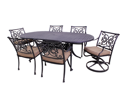 Florence Collection 4 Dining Chairs, 2 Swivel Rockers and Le Terrace 42 x 72 Oval Table