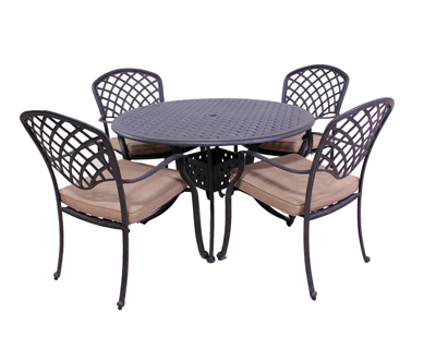 Kingston Collection 4 Dining Chairs and Le Terrace 42″ Round Table