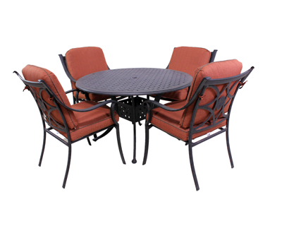 Harmony Collection 4 Dining Chairs and Le Terrace 42″ Round Table