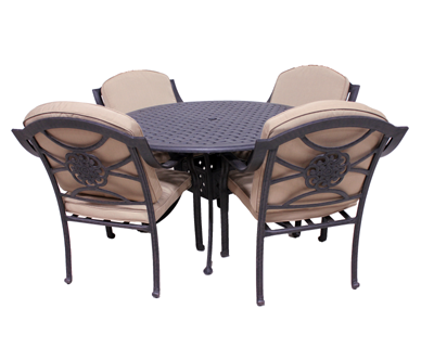 Rosemead Collection 4 Dining Chairs and Le Terrace 42″ Round Table