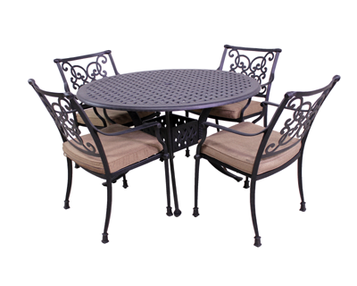 Florence Collection 4 Dining Chairs and Le Terrace 42″ Round Table