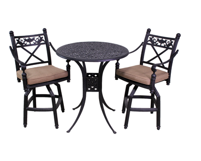 Basso Collection 2 Barstools and Le Terrace 42″ Bar Height Table
