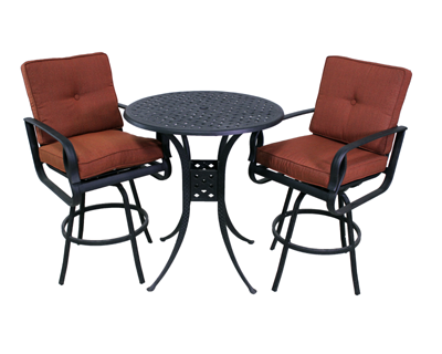 Venice Collection 2 Barstools and Le Terrace 42″ Bar Height Table