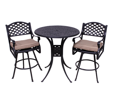 Le Terrace Collection 2 Barstools and Le Terrace 42″ Bar Height Table