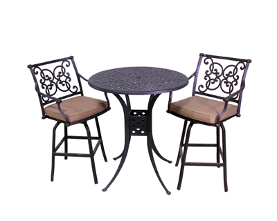 Florence Collection 2 Barstools and Le Terrace 42″ Bar Height Table