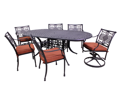 Dynasty Collection 4 Dining Chairs, 2 Swivel Rockers and Dynasty 42 x 84 Oval Table