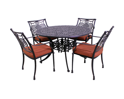 Dynasty Collection 4 Dining Chairs and Dynasty 48″ Round Table