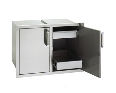 flush double doors dual drawers